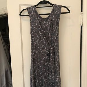 Loft Gray and Pink Patterned Dress